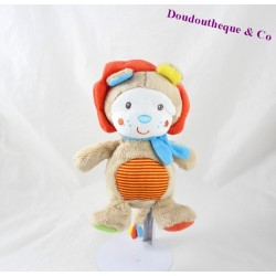 Doudou boule lion SIMBA TOYS Nicotoy écharpe bleue rayures 23 cm