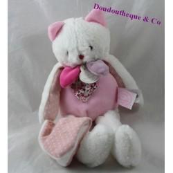 Doudou mouchoir chat DOUDOU ET COMPAGNIE Les Gommettes rose blanc 30 cm