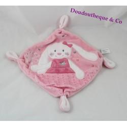Doudou rabbit flat TEX BABY pink heart knot 21 cm