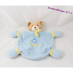 Bear flat Doudou blue yellow Teddy bear 23 cm