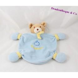 Doudou plat ours NOUNOURS bleu jaune 23 cm