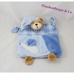Doudou marionnette ours KALOO Blue souris bleu blanc