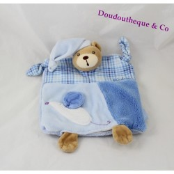 Doudou puppet bear KALOO Blue smile blue white