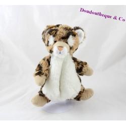 Doudou léopard CREATIONS DANI marron blanc 24 cm