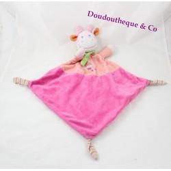 Doudou plat vache MOTS D'ENFANTS losange rose Leclerc 49 cm