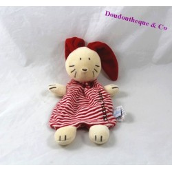 Doudou rabbit flat JACADI red beige stripes 23 cm