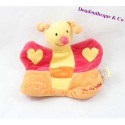 Doudou marionnette abeille UN RÊVE DE BEBE orange jaune rouge 20 cm