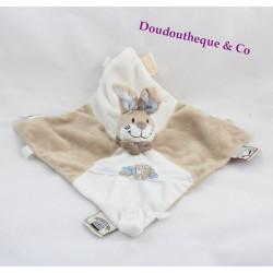Doudou NOUKIE rabbit flat Oscar's Oscar and Leon beige blue embroidery train