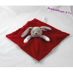 Doudou flat rabbit OBAÏBI red grey stripes 26 cm