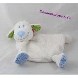 Doudou plat mouton TEX BABY blanc bleu bandana rouge