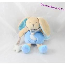 Doudou lapin BABY NAT' Luminescent bleu étoile BN0139 22 cm