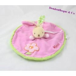 Doudou rabbit flat round KALOO pink green flower 27 cm