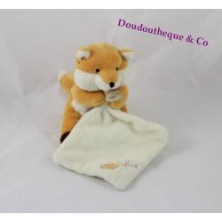 Doudou renard BABY NAT' mouchoir blanc orange 20 cm