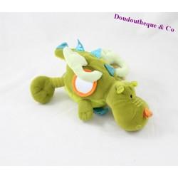 Peluche d'éveil dragon LILLIPUTIENS Walter vert grelot 26 cm