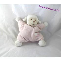 Doudou semi plat mouton BOUT'CHOU Monoprix rose nuage étoile 23 cm