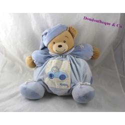 Doudou patapouf ours KALOO bleu voiture 30 cm