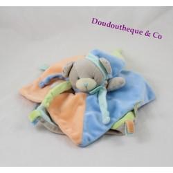 Doudou plat ours BABY NAT' Gourmandise bleu vert orange BN035