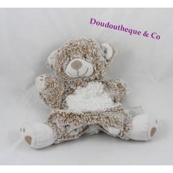 Doudou marionnette ours TEX BABY beige blanc chiné Carrefour 24 cm