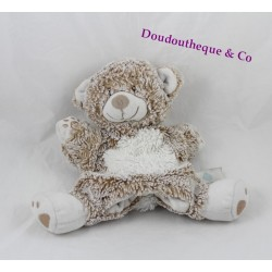 Doudou puppet bear TEX BABY beige white mottled Carrefour 24 cm