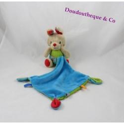 Doudou mouchoir lapin OUATOO LOGITOYS bleu vert pois 15 cm