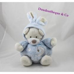 Peluche ours AUCHAN déguisé lapin boule bleu lune oiseau étoile