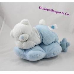 Peluche musicale ours TEX BABY bleu couché nuage pois Carrefour 28 cm