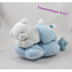 Teddy musical bear TEX BABY blue lying cloud peas Carrefour 28 cm