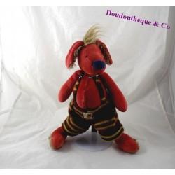 Peluche chien MOULIN ROTY Les Zazous salopette laine 33 cm