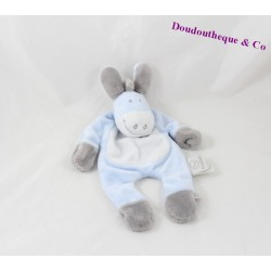 Doudou flat donkey Paco NOUKIE's blue white leg arm 26 cm