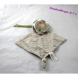 Doudou plat fleur DODO D'AMOUR MGM beige rayures 30 cm