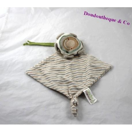 Doudou plat Fleur DODO D'AMOUR MGM beige rayé vert 30 cm