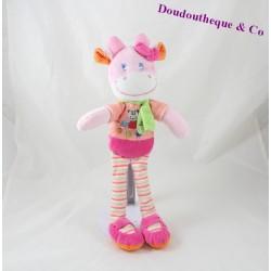 Doudou vache MOTS D'ENFANTS rose écharpe verte pois 35 cm