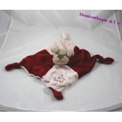Doudou plat chien RODADOU RODA rouge beige 3 noeuds 25 cm
