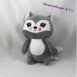 Peluche chat ZEEMAN gris blanc 26 cm