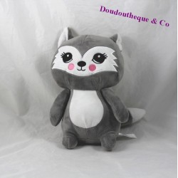 Plush cat white gray ZEEMAN 26 cm