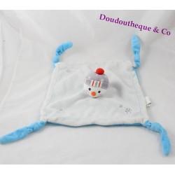 Doudou plat Igor le bonhomme de neige CarréBlanc bleu blanc bonnet