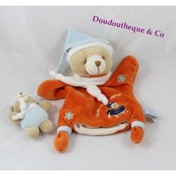 Doudou marionnette Firmin ours DOUDOU ET COMPAGNIE orange flocons 26 cm