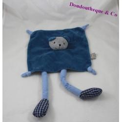 Doudou plat ours THEO ET INES bleu gris longues jambes