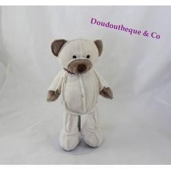Peluche ours UNESCO beige foulard rayé marron blanc 26 cm