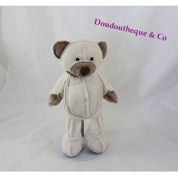 UNESCO bears plush beige brown white striped scarf 26 cm