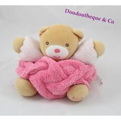Doudou ours KALOO plume rose framboise boule 19 cm