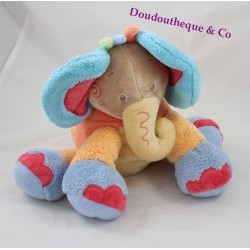 Plush elephant NATTOU Oasis blue green orange Palm 28 cm