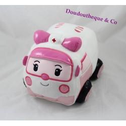 Peluche Ambulance Ambre SILVERLIT Robocar Poli rose blanc 25 cm