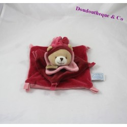 Bear flat Doudou DOUDOU and Red company rose 16 cm