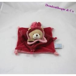 Doudou plat ours DOUDOU ET COMPAGNIE rouge rose 16 cm