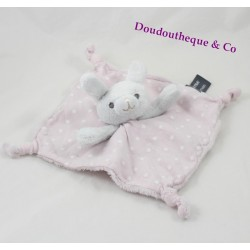 Doudou plat lapin ORCHESTRA étoile rose blanc fluorescent Prémaman