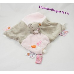 Doudou NOUKIE flat cat ' S Iris and Babette attached pacifier pink flower 26 cm