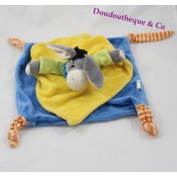 Doudou plat âne PLAYKIDS bleu jaune bandana rayé 27 cm