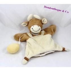 Doudou marionnette vache DOUDOU ET COMPAGNIE marron beige 25 cm