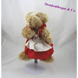 Peluche ours BUKOWSKI tablier robe rouge poils long 23 cm